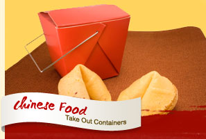 Fortune Cookies in Chinese Food Take Out Containers.